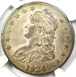 1834 Capped Bust Half Dollar 50C Coin - Certified NGC MS61 (BU) - $1,250 Value!
