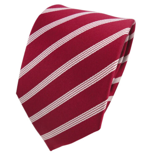 Designer Seidenkrawatte rot signalrot silber gestreift Krawatte Seide Silk