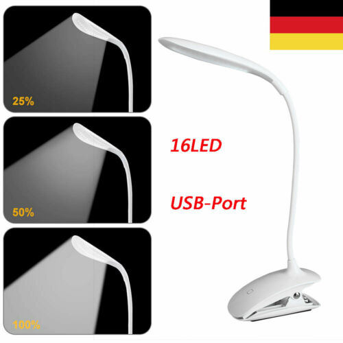 16 LED Klemmleuchte Leselampe 3 Lichtmodi Dimmbar Tischleuchte Schreibtischlampe