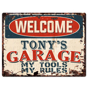 PPWG0103-WELCOME-TONY-039-S-GARAGE-Chic-Sign-man-cave-decor-Funny-Gift