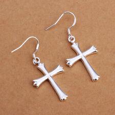 925 Sterling Silver Dangle Cross Hoop Pierced Earrings L157