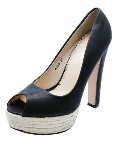 Femme Noir Slip-on Peep-Toe Cour de Hesse-Smart Chaussures Tailles 2-7