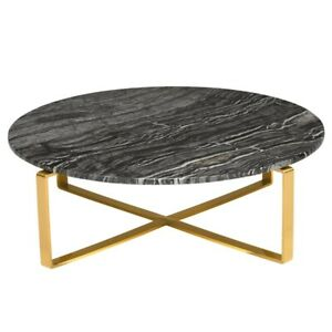 Details About 38 W Marble Coffee Table Wood Vein Solid Stone Modern Gold Metal Base