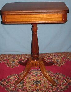vintage solid mahogany fold over swivel top table pedestal duncan
