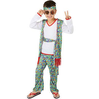 Jungenkostüm Hippieboy Karneval Fasching Halloween Junge Kinder Peace 70er bunt