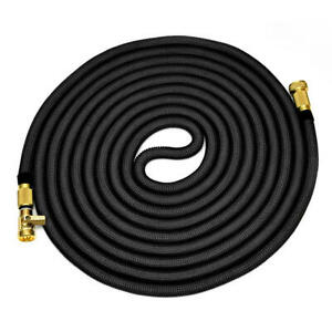 Strongest Expandable Garden Hose with Solid Brass Connector Expand Up 75FT Black