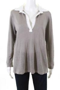 Amina Rubinacci  Womens V Neck Sweater Grey Linen Size 38