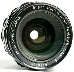 Pentax-Super-Multi-Coated-Takumar-f3-5-28mm-Prime-Lens-m42-mit-Kappen-UK-Schnelle-Post