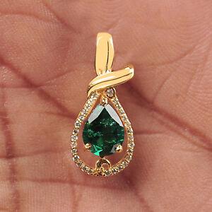 585er-Gelb-Gold-1-65KT-EGL-Zertifiziert-Natuerlich-Gruen-Smaragd-Diamant-Anhaenger