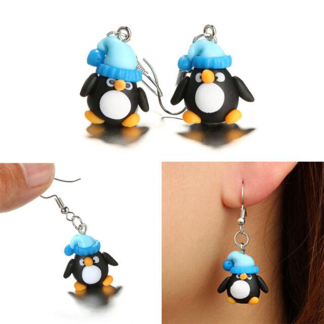 Polymer Clay Christmas Earrings.Hook Handmade Jewelry Penguin Pattern Polymer Clay Christmas Earrings Ear Stud