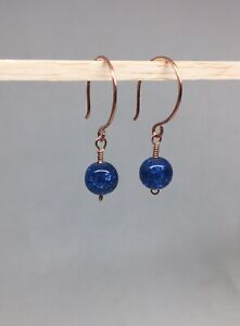 COPPER EARRINGS WITH DARK BLUE CRACKLE GLASS BEADS HANDMADE BEAUTIFUL AND UNIQUE