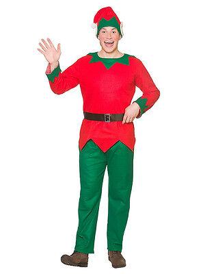 Christmas Elf Fancy Dress Costume Outfit Adult Mens Santa Helper STD XL Size