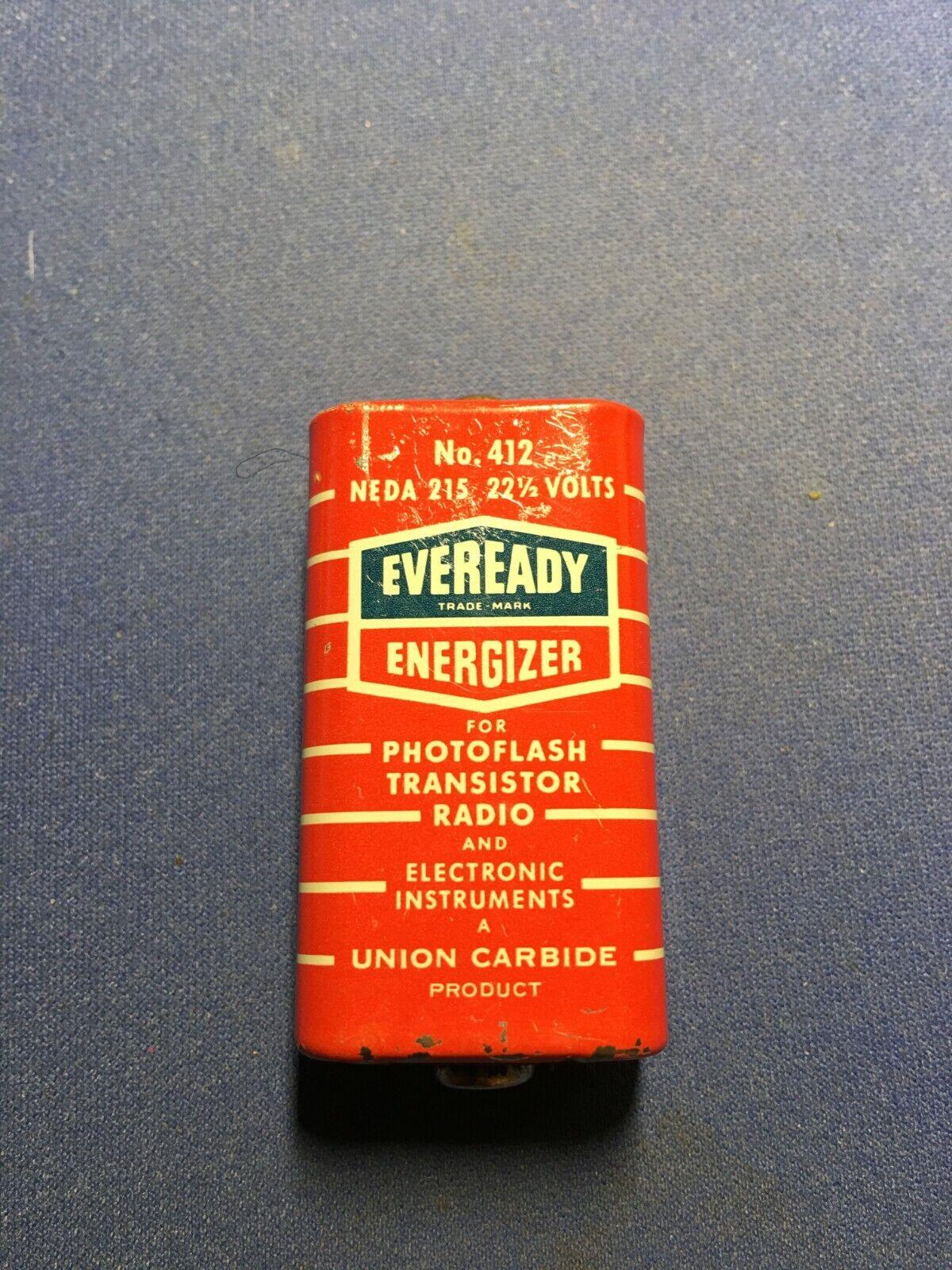 RARE Vintage EVEREADY No.412 22½ Volt Battery For Photoflash Transistor Radio B