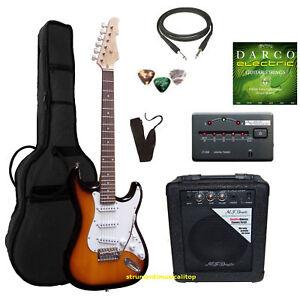 Chitarra-Elettrica-Stratocaster-Sunburst-kit-Amplificatore-Set-Accessori