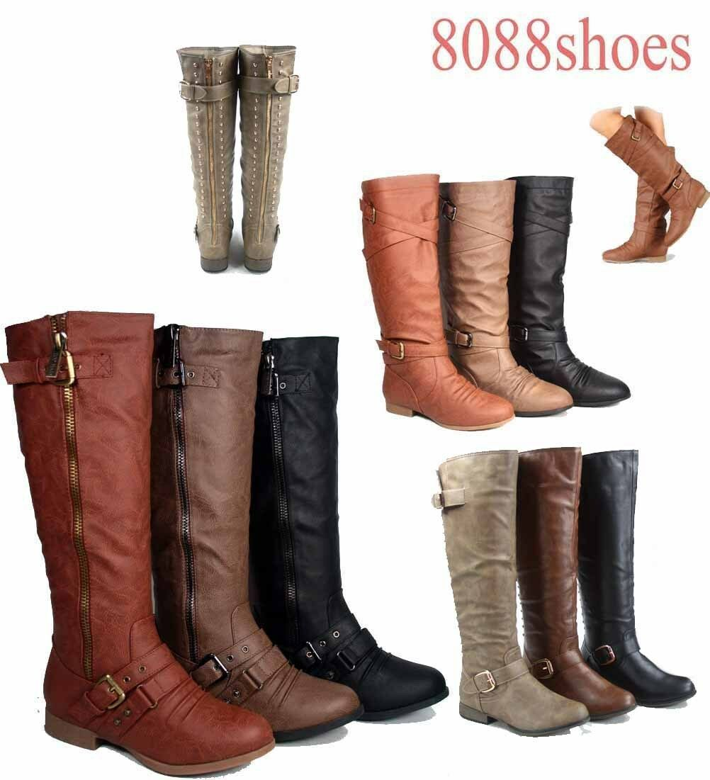 Women's Round Toe Zipper Low Flat Heel Knee High Boots Shoes All Size 5 -10 NEW