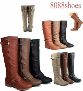 Women-039-s-Round-Toe-Zipper-Low-Flat-Heel-Knee-High-Boots-Shoes-All-Size-5-10-NEW