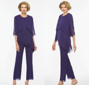 2PCS-Formal-Wedding-Mother-of-the-Bride-Dress-Women-3-4-Sleeve-Pant-Suit-Chiffon
