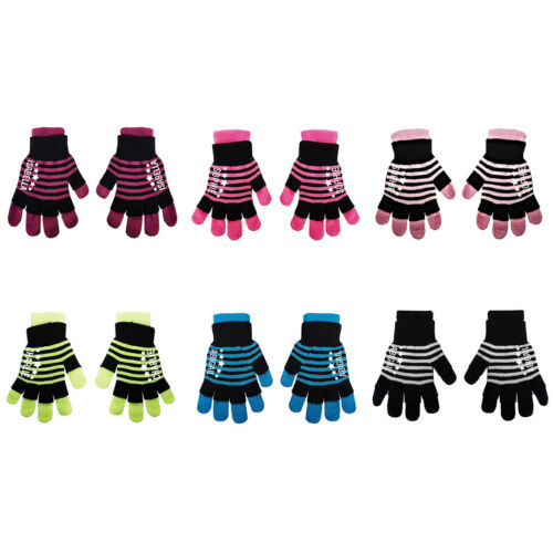 Personalise Name Kids Teenagers Stripes Boys Girls Winter Heat Mittens Gloves D1