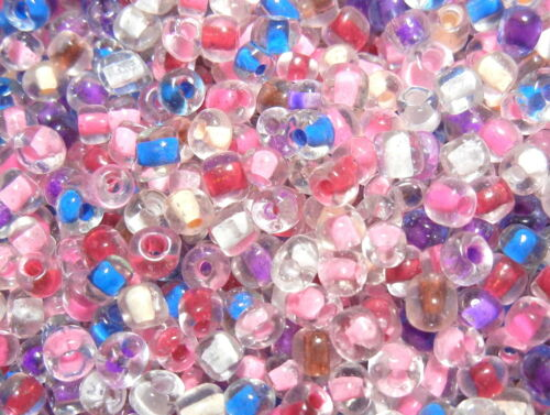 SRG14 Inside Colours Pink Mix 20g 200pc Size 6//0 4mm Glass Seed Beads