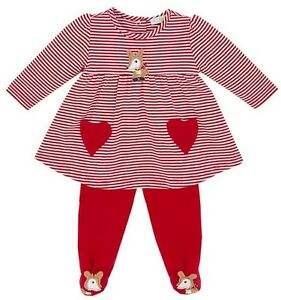 NEW-Le-Top-Baby-Girl-Christmas-Deer-Stripe-Dress-amp-Footed-Pants-Set-3-Months-NWT