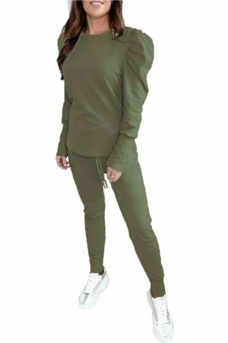 Details about  /Ladies Womens Puff Sleeve Loungewear Suit 2 Piece Top Bottoms Set Tracksuit UK