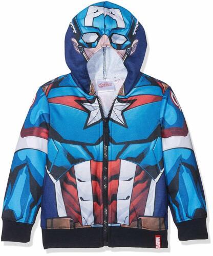 Boys Avengers Captain America Iron Man Costume Zip Hooded Jumper Summer Jacket