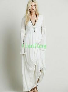 ff164678f09f5 Image is loading Women-Embroidery-Long-Sleeve-Full-Length-White-Linen-