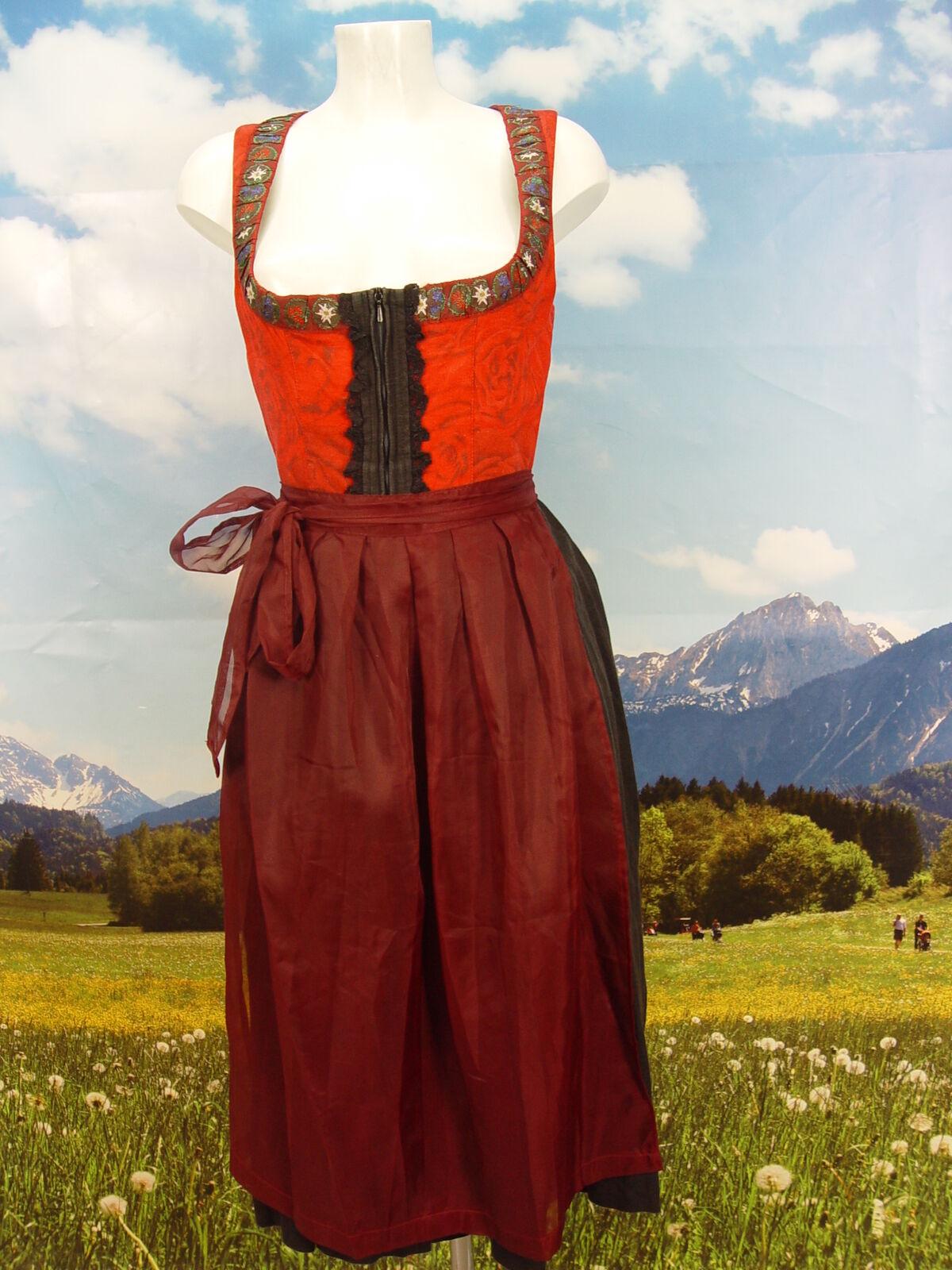 FEELINGS aus Leinen/Viskose herrliches Balkonett Dirndl mit Schürze Gr.34