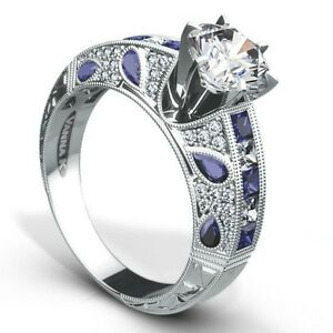 3e0d71af40216 Details about Very Unique Vanna K Semi Mount with Diamonds & Blue Sapphires  in 18K White Gold.