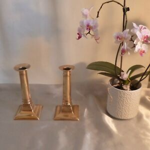 Pair-of-Antique-Georgian-Brass-Candlesticks-Neo-Classical-Corinthian-Columns