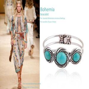 Fashion-Jewelry-Vintage-Retro-Turquoise-Bracelet-Bangle-Bohemian-Silver-Plated