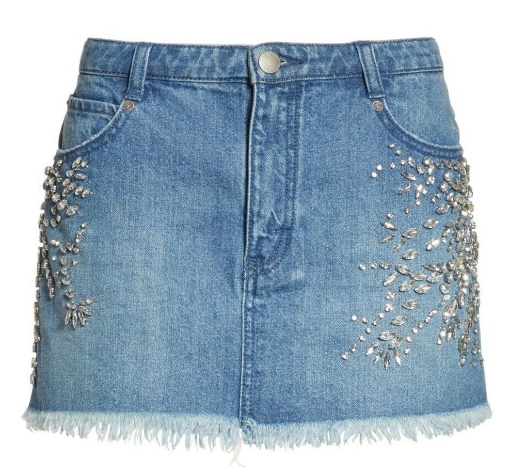 Free People OB711628 Indigo Shine Bright Shine Far Stretch Denim Miniskirt, 8R