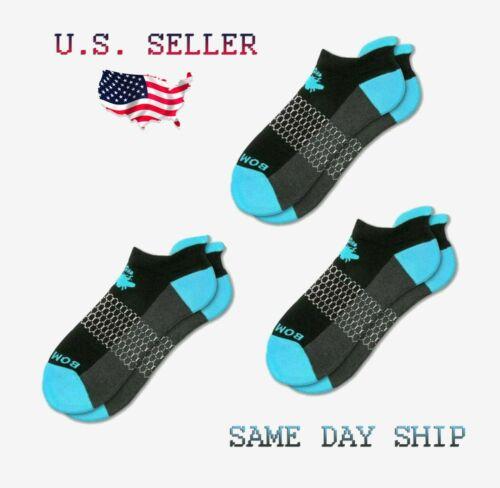 3-Pack Bombas Ankle Socks Women/'s Medium Black Ocean//Electric Blue