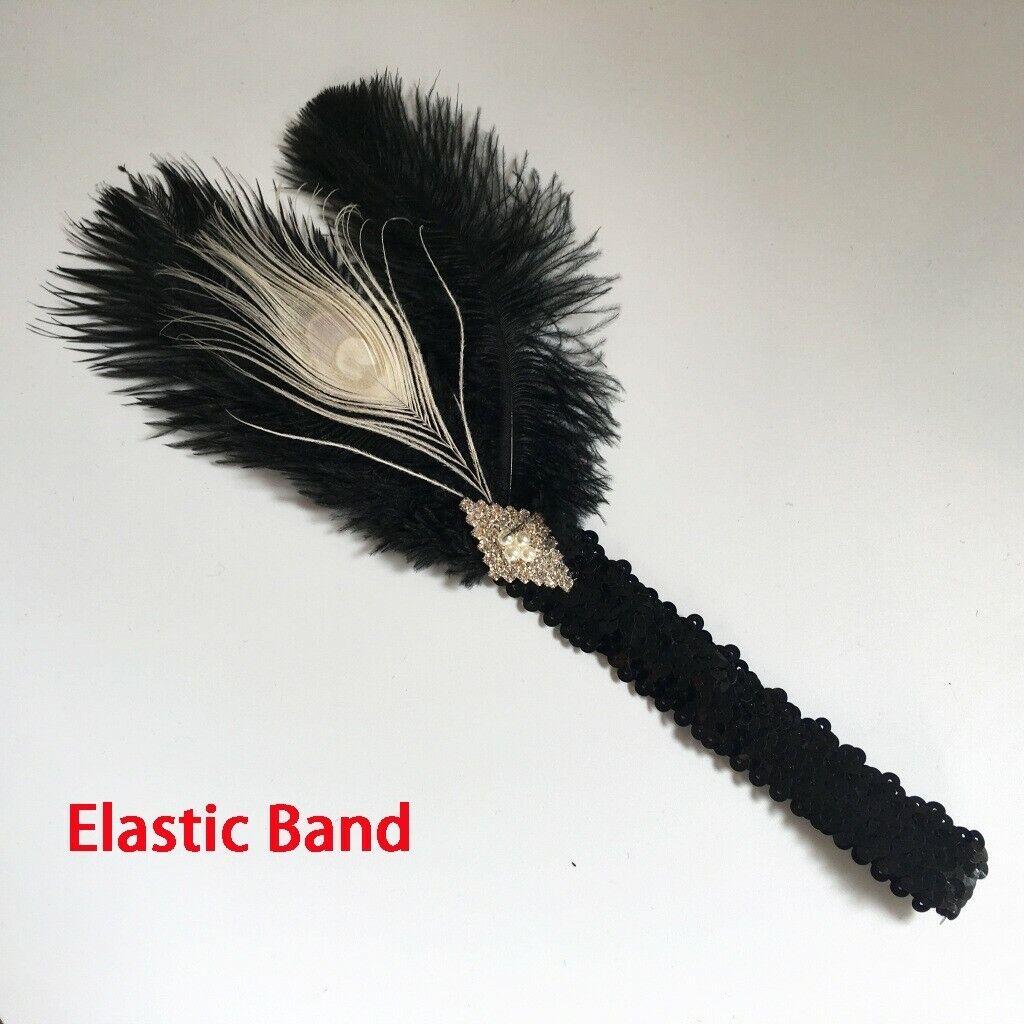 1920s Headband Black Feather Bridal Great Gatsby 20s Flapper Headpiece Gangster