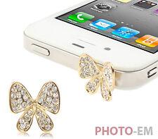 Handy Schmuck Schmetterling Staub Schutz iPhone 4 4S 5 Kappe Stöpsel Strass  074