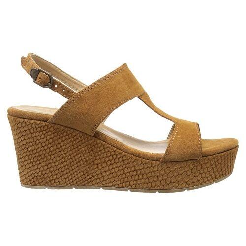 Tamaris 1-1-28361-26 455 Schuhe Damen Leder Wedges Keil Sandaletten cognac braun