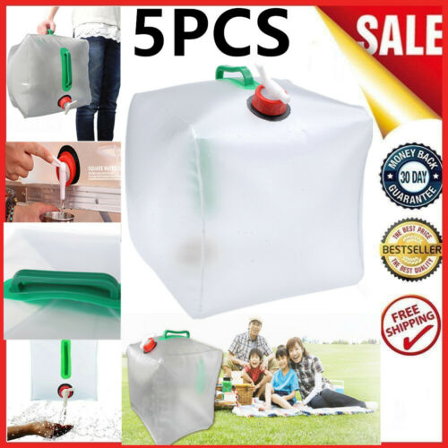 20L 5.3 GALLON PORTABLE WATER CARRIER COLLAPSIBLE BAG CONTAINER*5pcs US STOCK
