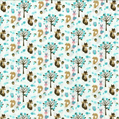 Fabric Freedom Woodland Animals 100% Cotton Fabric FQ Crafting Patchwork Blue