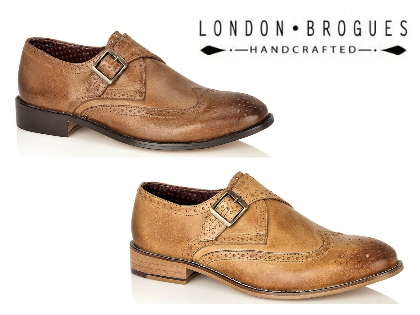 London Brogues Leather Brogue Single Strap Strap Strap Buckle Monk schuhe 2 Colours Größe 7-12  2e0ed7