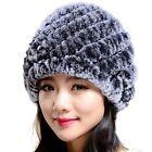 Women Headgear Winter Knitted Fur Caps Warm Hats  Rex Rabbit Fur Hat