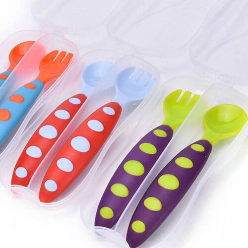 Baby Spoon and Fork Adaptable Utensils Toddler Spoon Flatware with Storage Box