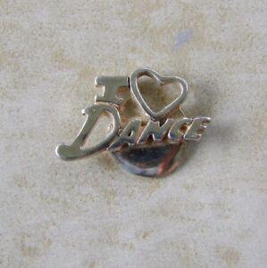 I-Love-Dance-Heart-Bracelet-Charm-Vintage-Sterling-Silver-Dancing