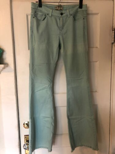 Free People Light Sky Blue Jeans Bell Bottoms Fray