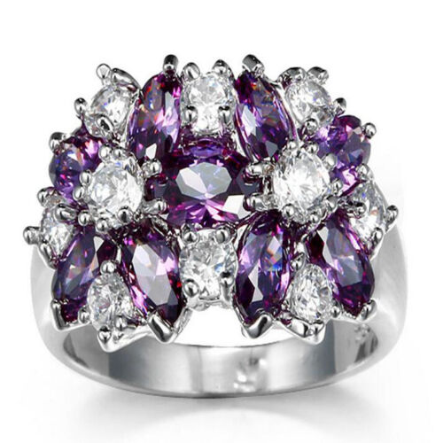 Natural Purple Amethyst  Ring Solid Fine Jewelry For Women/'s Fashion Wedding