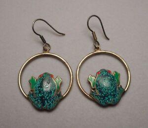 Frog Earrings Turquoise Silver Frog Jewelry Long Dangle Earrings