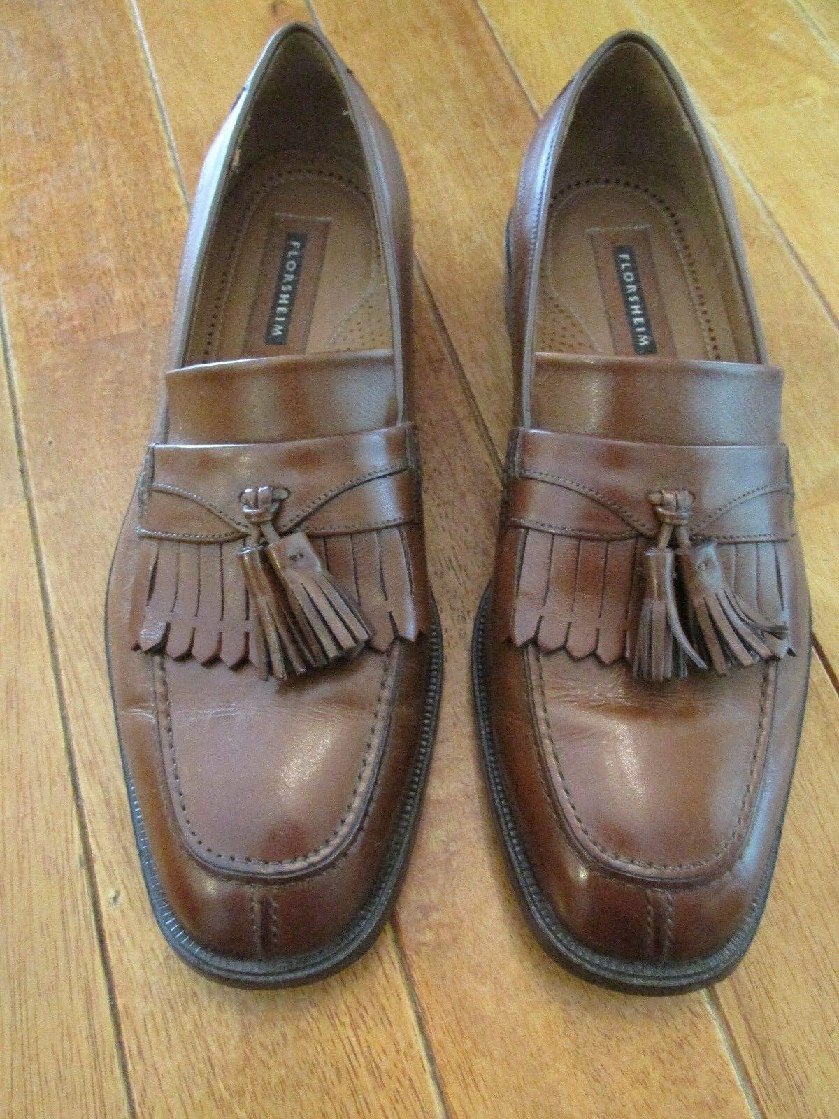 Florsheim Leather Loafers Size 10.5 D Brown Leather Florsheim Wingtip Tassel Slip-On Shoes a52156