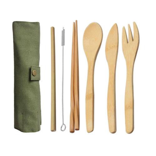 Bamboo Utensils Wooden Travel Cutlery Set Fork Spoon Knives Chopsticks Flatware