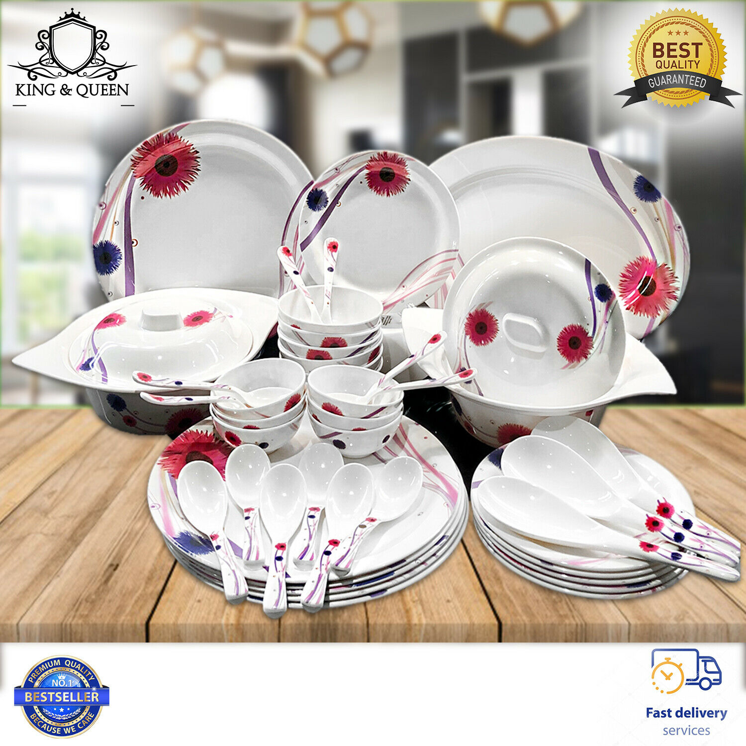 44 piece Melamine Dinner Set Tableware Rice Rice Rice Dish Soup Bowl With Lid Home Outdoor e234db