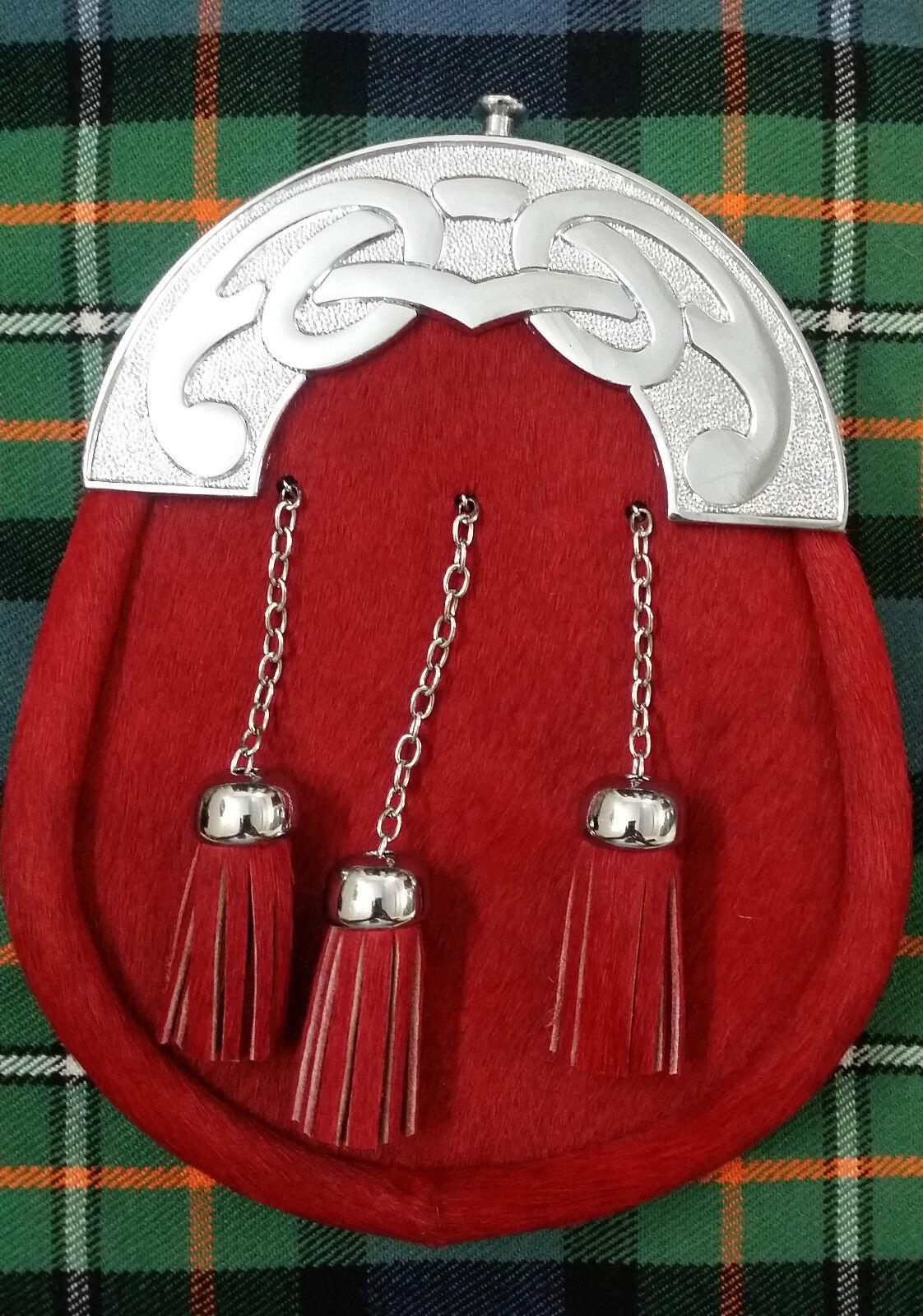 Men's Full Dress Kilt Sporran Red Bovine Celtic Cantle Chrome/Leather Sporrans