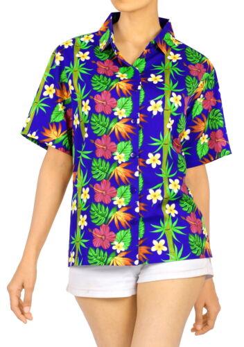 LA LEELA Women/'s Beach Hawaiian Shirt Tank Tunic Blouse Tops Cover Up L Blue/_X93